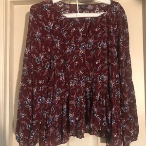 Floral American Eagle Blouse XL